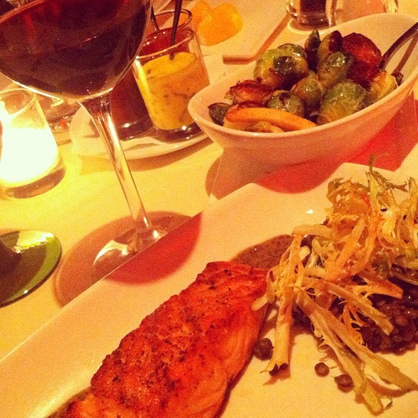 Grilled Salmon lentils, brussels sprout leaves, ginger lemon garlic sauce  - T-BAR Steak & Lounge (Upper East Side), New York, NY