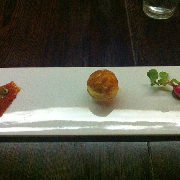 Chicken Skin, Bacon Pudding Stuffed Cornbread Ball, Baby Radish With Seaweed Butter @ The Catbird Seat