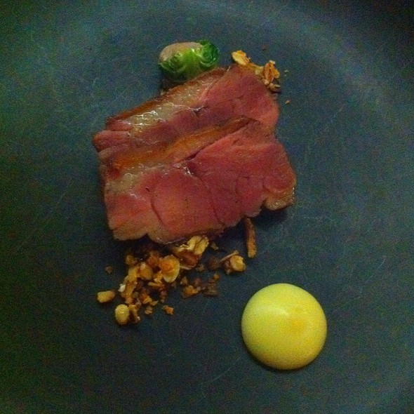 Pressed Duck With Savory Granola And Duck Liver Mousse Filled Brussel Sprout @ The Catbird Seat