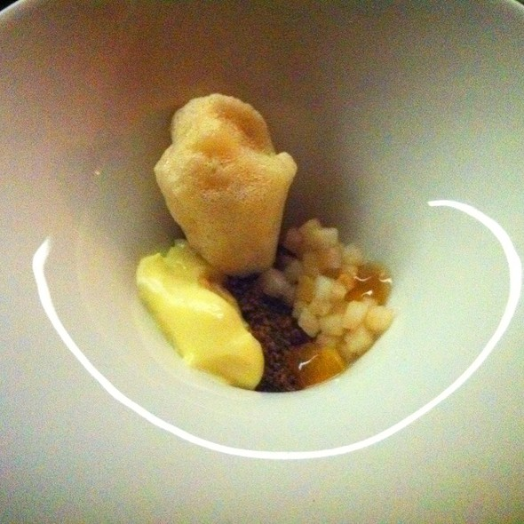 Creamy Cheese With Earl Grey Foam, Punpernickel Seeds & Asian Pear @ The Catbird Seat