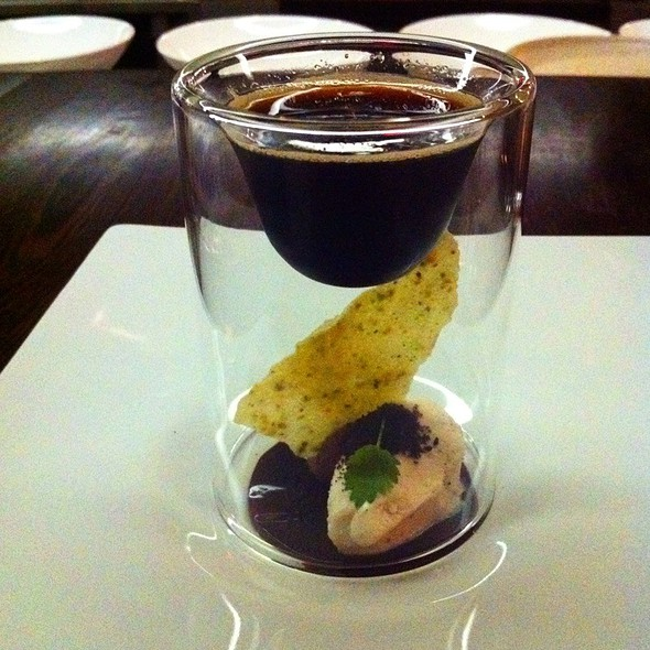 Chickory Gel, Malted Cream, Dark Chocolate Mousse & A Pistachio Chip @ The Catbird Seat