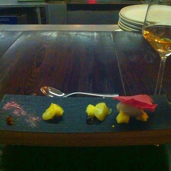 Pineapple Gelee, Vanilla Cake & Bourbon Oak Balls Served With A Maple Bourbon Rinsed Glass Of Royal Tokaji Co @ The Catbird Seat