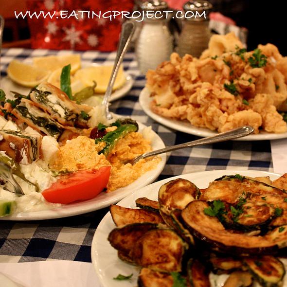 fried eggplant & zucchini, pikilia platter, fried calamari @ Rotisserie Panama