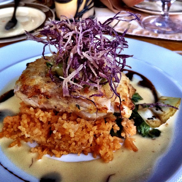 Macadamia Nut Crusted Mahi Mahi With Orange Buerre Blanc And Fontina Risotto @ Tidepools
