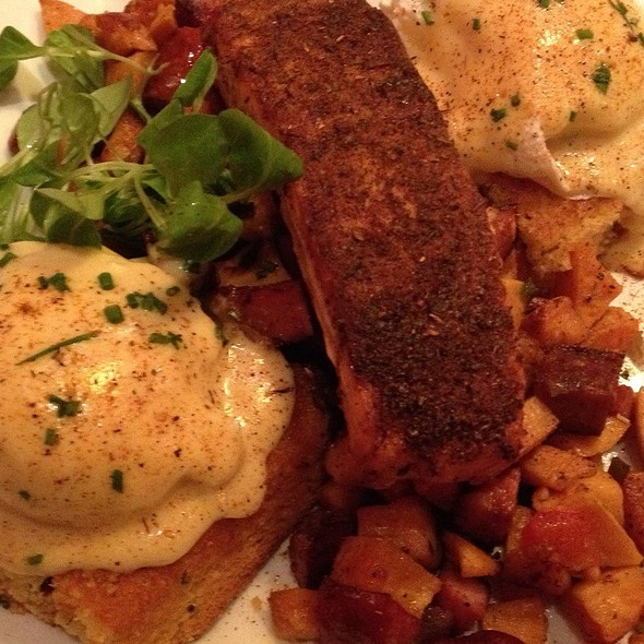 blackened salmon eggs benedict @ Miss Shirley's Cafe