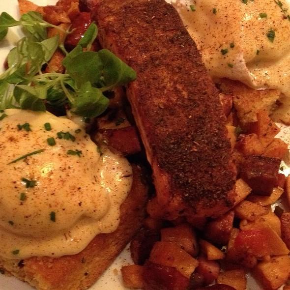 blackened salmon eggs benedict @ Miss Shirley's Cafe