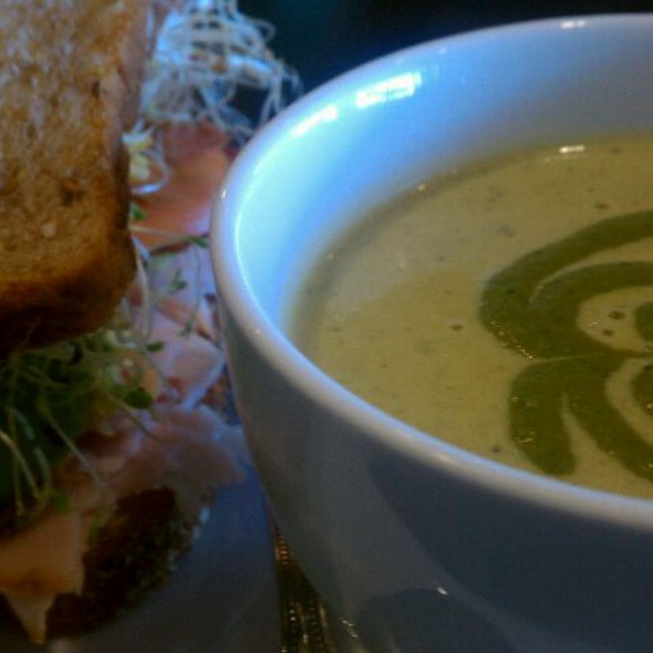 Poblano Soup And Fabulous Sandwhich At Picnikins Patio Cafe
