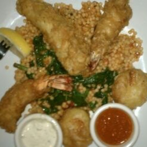 Cod, Scallops & Shrimp Over Pearl Cous Cous And Spinach