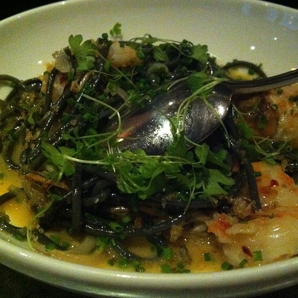 Squid Ink Spaghetti With Georgia Shrimp, Mint, And Chilies @ No 246