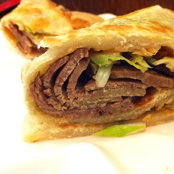 Scallion Pancakes With Sliced Beef @ Dumpling Cafe Inc