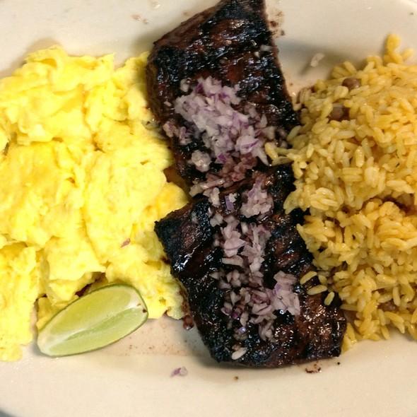 Churrasco A Caballo Con Arroz Y Frijoles Negros @ La Isla Restaurant