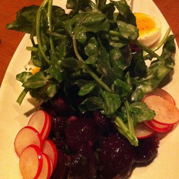 Composed Salad Of Beets With Soft Bodied Egg, Watercress, Avocado, Radish @ Staple & Fancy Mercantile