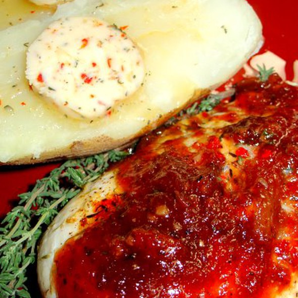 Grilled Chicken with  Port Marmalade Sauce with Baked Potatoes and Aleppo Pepper, Garlic, and Rosemary Butter @ Justafoodie's by Invitation