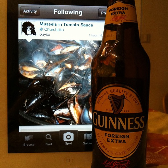 Guinness Stout & Dream Of Olayita Mussels In Tomato Sauce.
