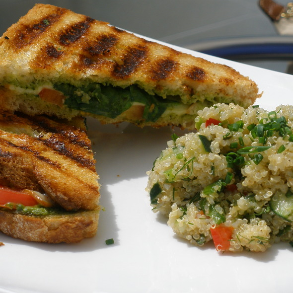 Red, White, and Green Sandwich - Nasher Cafe