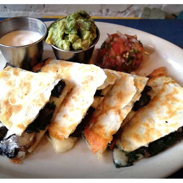 Mushroom & Spinach Quesadilla w/side of Guacamole @ Bogota Latin Bistro
