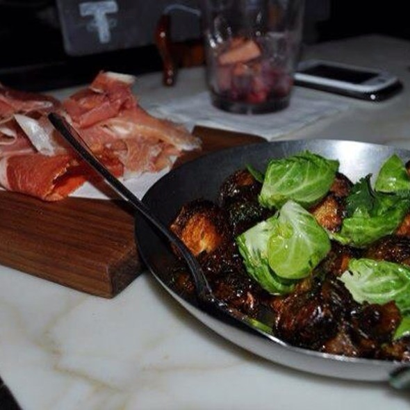 Jamon Serrano + Brussels Sprouts W/ Pork Belly @ Tertulia