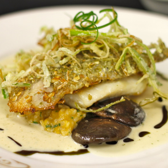 Pumpkin Seed Crusted Triggerfish with butternut squash risotto, Shiitakes, crispy leeks, sage brown butter