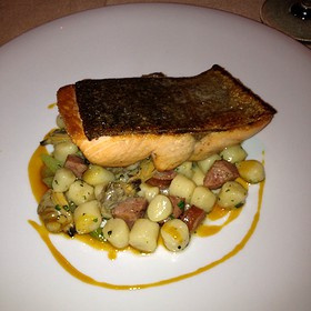 Pan-Seared Steelhead On A Bed Of Gnocchi And Panchetta