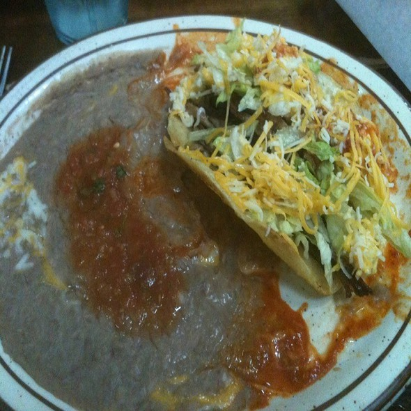 Shredded Beef Taco And Refried Beans @ EL BURRITO GRILL