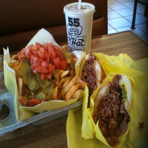 Pastrami Sandwich And Loaded Fries @ The Hat