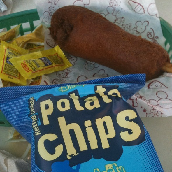 Corn Dog, Chips And Lots O Mustard! @ Little Red Wagon Corn Dogs Disneyland