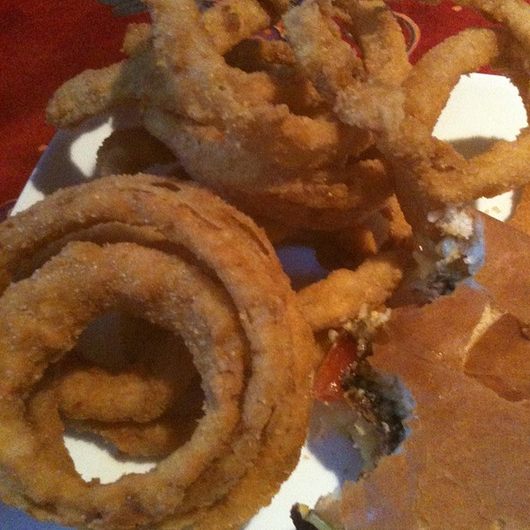 Onion Rings And Jr. Cheese Burger @ Volcano Burger