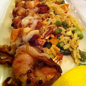 Bacon Wrapped Shrimp With Orzo