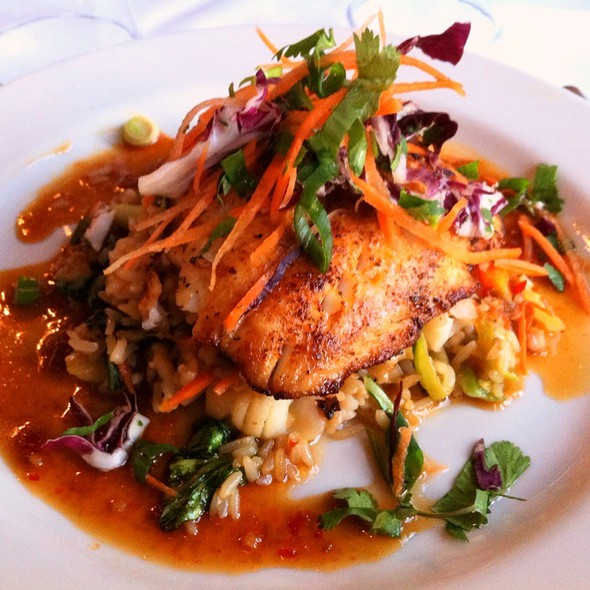 Pam Roasted Walleye With Lobster-Vegetable Fried Rice And A Soy-Ginger Sauce @ Tavern On Rush