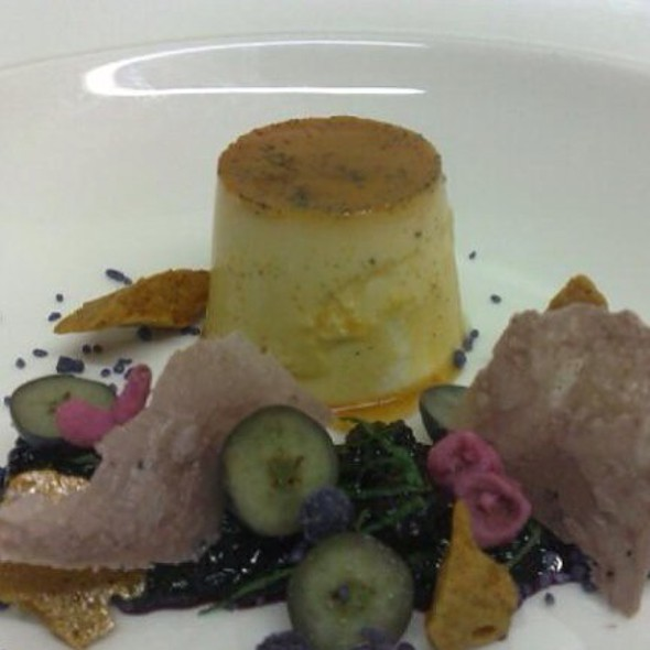 Creme Caramel, Blueberry Gastric, Honey Comb And Violet Pettals @ The Pastry King