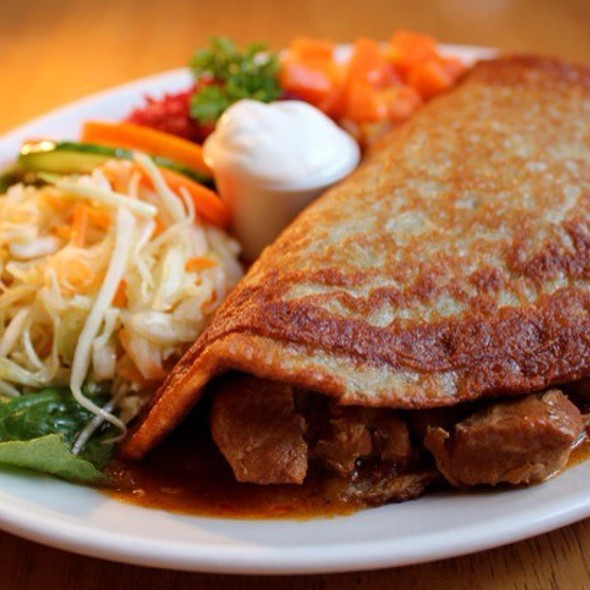 Potato Pancake,  Hungarian Style Filled With Goulash