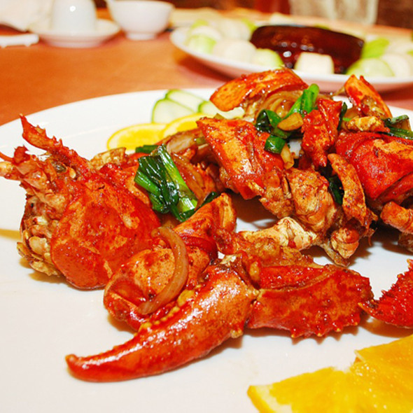 Fried Lobster with Green Onions and Amoy Premium Soy Sauce @ Shiang Garden Restaurant
