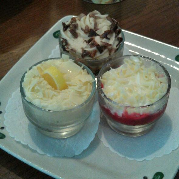 Lemon, Strawberry, & Chocolate Dessert shots @ Olive Garden
