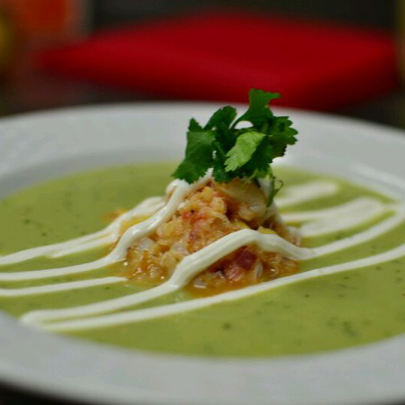 Chilled Avocado Soup With Shrimp & Snowcrab Ceviche With Spicy Sour Cream @ The Warehouse