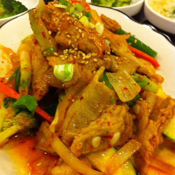 Stir Fried Pork With Basil On Rice @ Korean BBQ House