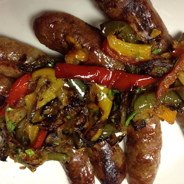 Homemade fennel sausage with smoked Hungarian paprika, tri-color peperonata @ O'Tooles