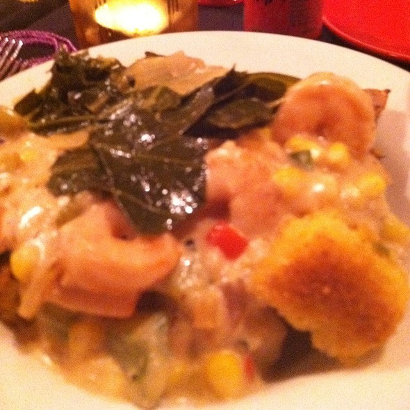 Shrimp, Anduille, And Roast Corn Over Chicken And Cornbread Stuffing - Spats Cafe and Speakeasy, State College, PA