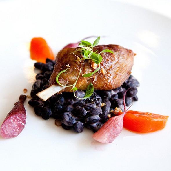 Confit duck leg with fuyu persimmon, red wine braised radishes, black beans, and sesame @ Blackbird Restaurant