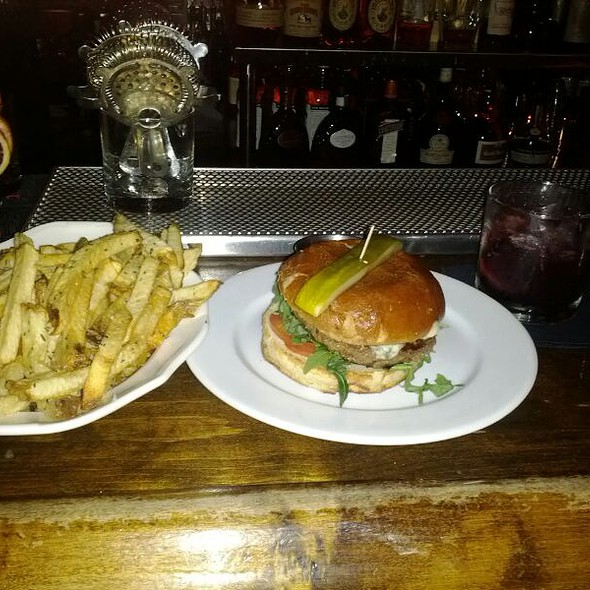 Burger, Truffle Fries, and modern Fashioned. @ The Basement