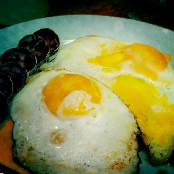 Fried Egg Breakfast With Chorizo + Coffee & Oj @ HUT