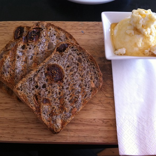 Fig And Walnut Toast With Honey And Ricotta @ Swallow Coffee Traders