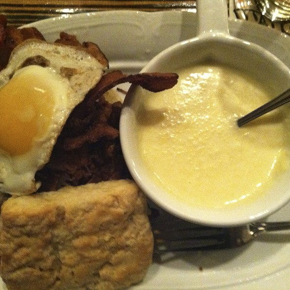Fried Chicken, Bacon, Egg And Cheese Biscuit W/ Cheese Grits @ Jacobs Pickles