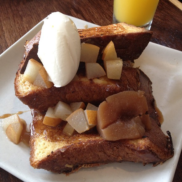 Lavender Infused French Toast With Honey Marscapone, Roasted Pears, & Bourbon Syrup @ Mission Beach Cafe
