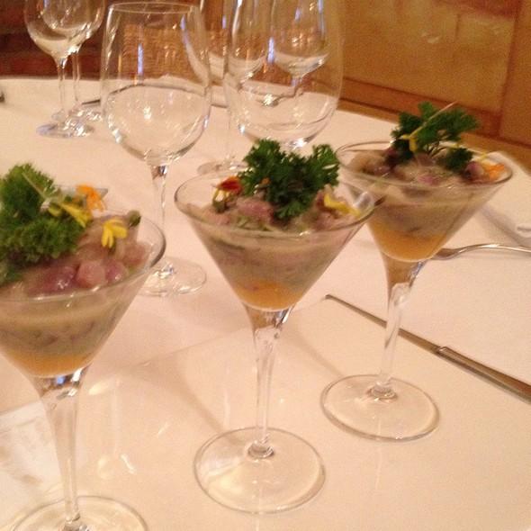 Ceciche De Corvina, Rocoto, Camote Asado Y Cujiente Canchita Servido Como Un Martini. @ Antigua