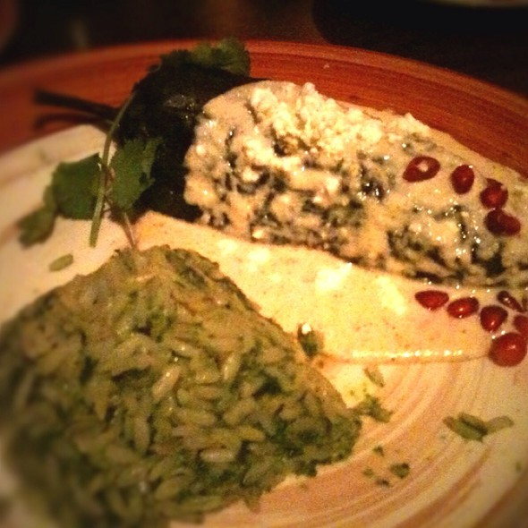 Chile Poblano With Walnut-Goat Cheese Sauce And Pomagranate Seeds @ Adobo Grill