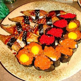 Eel, Salmon Roe, & Quail Egg Sushi