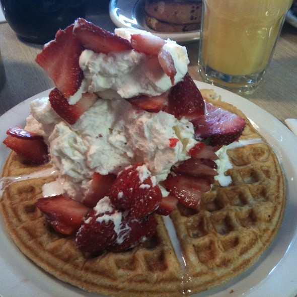 Belgian Waffle With Cream And Strawberries @ Winnie's Coffee