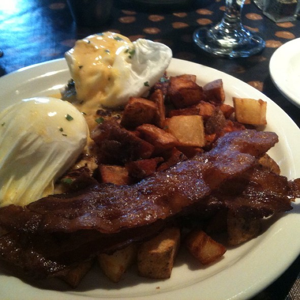 Crab Cake Benedict With Hashbrowns & Side Of Bacon @ Germantown Cafe