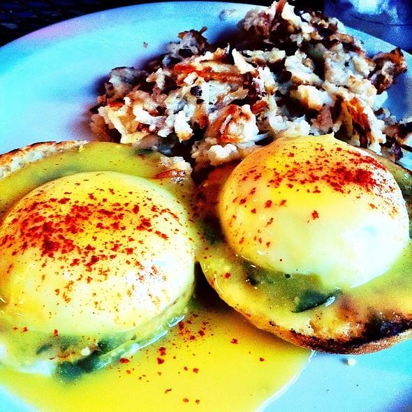 Tomatillo Eggs Benedict @ Austin Java Barton Springs