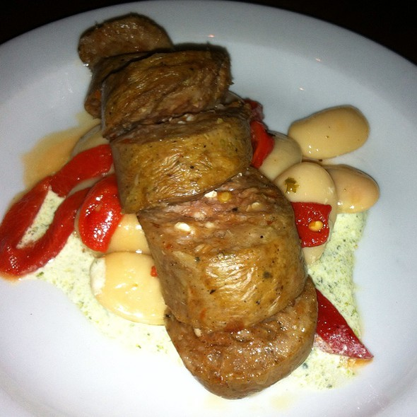 Lamb Sausage With White Beans, Piquillo Peppers, And Mint-Feta Sauce @ Tria